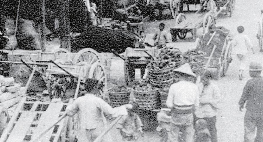 昔日木製人力車