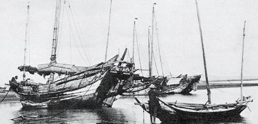 昔日港口停泊的船隻,多為木造